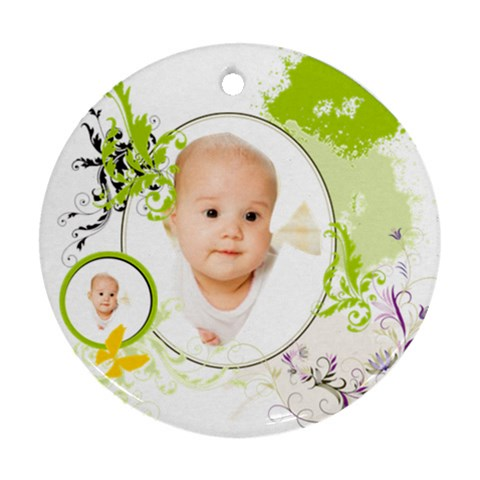 Baby By Wood Johnson   Ornament (round)   Ek1p7q72v2tk   Www Artscow Com Front