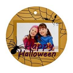 Happy Halloween By Wood Johnson   Round Ornament (two Sides)   Bbqx6xywrl1e   Www Artscow Com Back