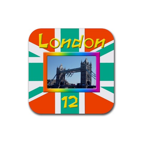 London 12 Coaster By Deborah   Rubber Coaster (square)   Prex8g6aewu6   Www Artscow Com Front