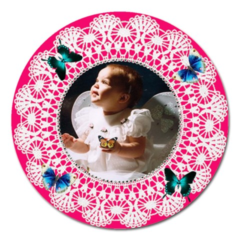 Bright Pink Nd White Doilie Magnet 5 Inch By Kim Blair   Magnet 5  (round)   Uv0rkkfc89wn   Www Artscow Com Front
