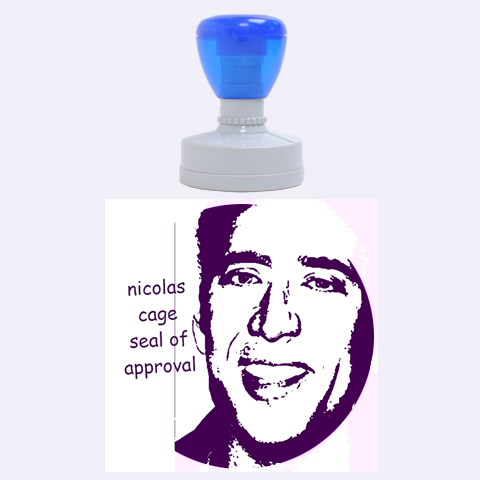 The Nicolas Cage Seal Of Approval By Lauren   Rubber Stamp Round (large)   0r5hfojtqc35   Www Artscow Com 1.875 x1.875  Stamp