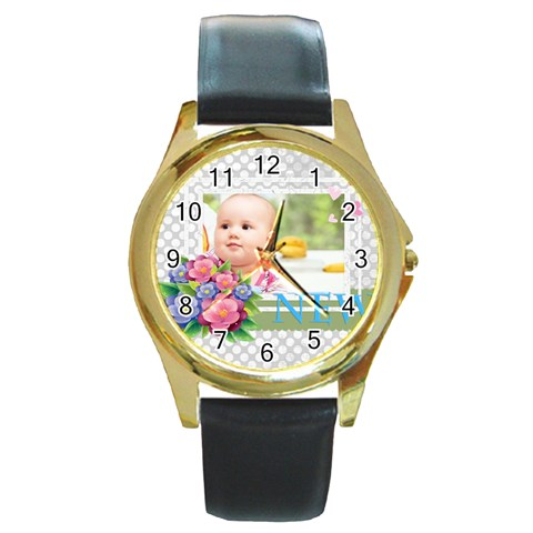 Baby By Joely   Round Gold Metal Watch   A6a5ewhq6o0g   Www Artscow Com Front