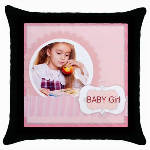 Baby Girl By Joely   Throw Pillow Case (black)   X9obff8dlzau   Www Artscow Com Front