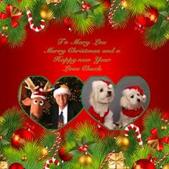 My Merry Christmas 3d Twin Heart Card By Deborah   Twin Heart Bottom 3d Greeting Card (8x4)   7zblfsogdfxv   Www Artscow Com Inside