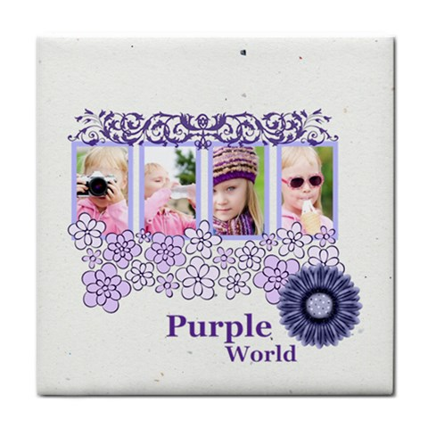 Purple World By Joely   Tile Coaster   I2j4bmb4olou   Www Artscow Com Front