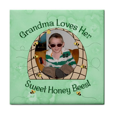 Grandma Loves Her Honey Bees Tile Coaster By Chere s Creations   Tile Coaster   2plw2jn42u40   Www Artscow Com Front