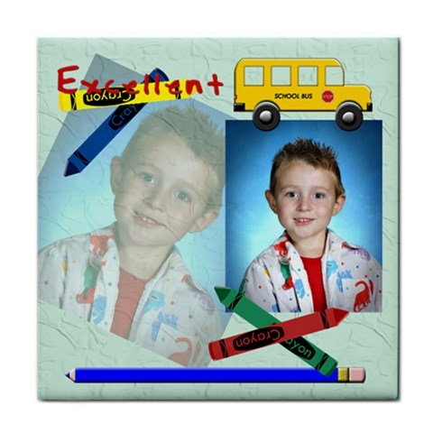 School Bus Tile Coaster By Chere s Creations   Tile Coaster   Vl7ni8jz65mt   Www Artscow Com Front
