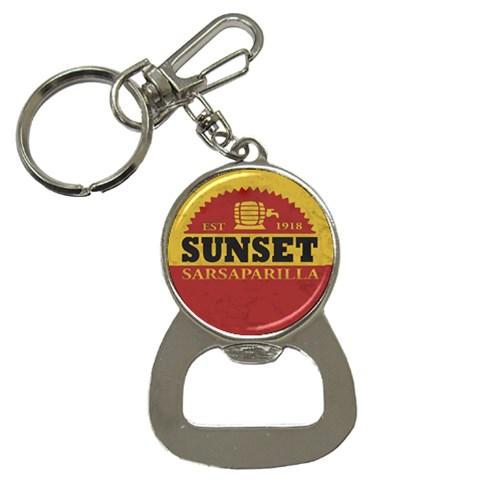 Sunset Sarsaparilla Bottle Opener Keychain By John Kres   Bottle Opener Key Chain   905er07l1qah   Www Artscow Com Front