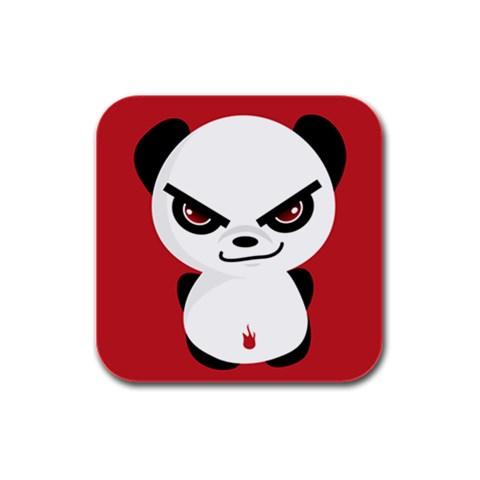Evil Panda By Joyce   Rubber Square Coaster (4 Pack)   T4ba8ci37lkk   Www Artscow Com Front