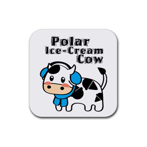 Polar Ice Cream Cow Coaster By Joyce   Rubber Square Coaster (4 Pack)   9xrkrhgc27m9   Www Artscow Com Front