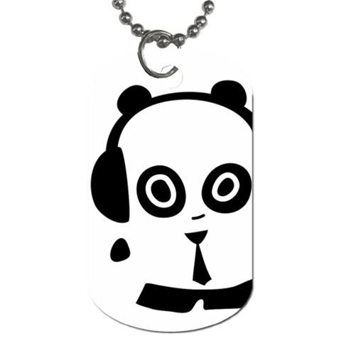 Headphones Panda Dog Tag By Joyce   Dog Tag (one Side)   Pk3uhgpwacau   Www Artscow Com Front
