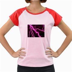 Purple Lightning Colored Cap Sleeve Raglan Womens  T Shirt by PurpleVIP