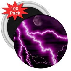 Purple Lightning 100 Pack Large Magnet (round)