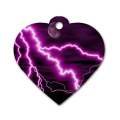 Purple Lightning Single Sided Dog Tag (heart) by PurpleVIP