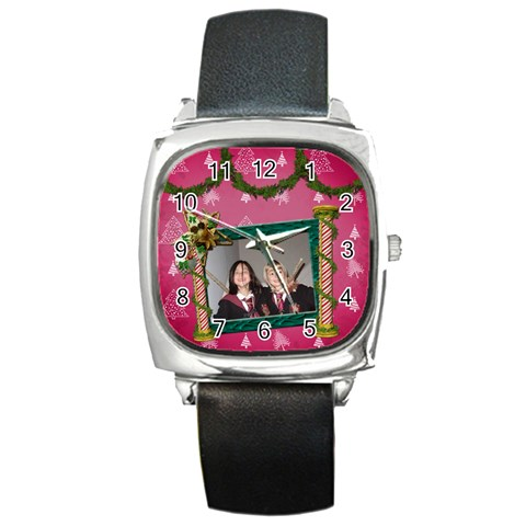 Simplychristmas Vol1   Square Metal Watch  By Picklestar Scraps   Square Metal Watch   9l37a2oycxx3   Www Artscow Com Front