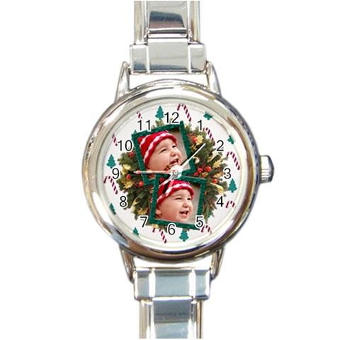 Simplychristmas Vol1   Round Italian Watch  By Picklestar Scraps   Round Italian Charm Watch   96uc112zy1nz   Www Artscow Com Front