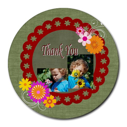 Thank You By Jacob   Collage Round Mousepad   8qo2dpfs6j87   Www Artscow Com 8 x8 Round Mousepad - 1