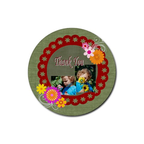 Thank You By Jacob   Rubber Round Coaster (4 Pack)   3flwnd5jltq2   Www Artscow Com Front