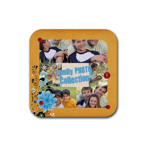 Family By Joely   Rubber Coaster (square)   Wlbxkww2b2g7   Www Artscow Com Front