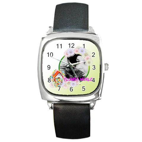 Flower By May   Square Metal Watch   67fnb9ni0tag   Www Artscow Com Front
