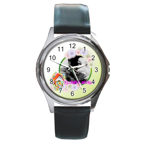 Flower By May   Round Metal Watch   R5q0d1vkzu2t   Www Artscow Com Front