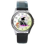 flower - Round Metal Watch