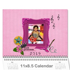 Wall Calendar (11 X 8 5)   My Rock Princess By Jennyl   Wall Calendar 11  X 8 5  (12 Months)   4vdvhrcizy1k   Www Artscow Com Cover