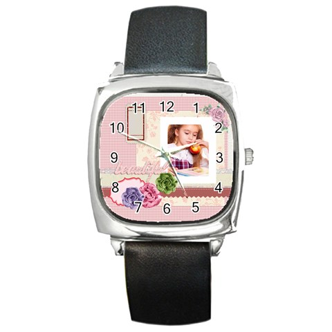 Pink By Joely   Square Metal Watch   I1q2s5v4et45   Www Artscow Com Front