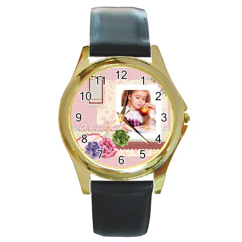 Pink By Joely   Round Gold Metal Watch   3ibdrgbwr9z0   Www Artscow Com Front
