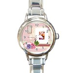pink - Round Italian Charm Watch
