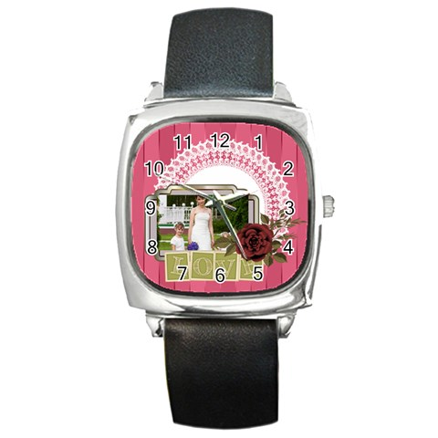 Love By Man   Square Metal Watch   A1muxbppn4el   Www Artscow Com Front