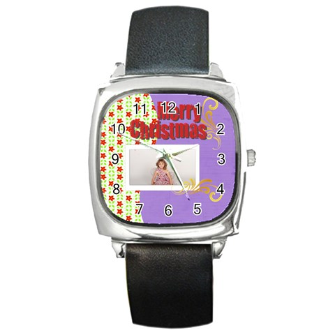 Merry Christmas By M Jan   Square Metal Watch   2n718um2f81i   Www Artscow Com Front