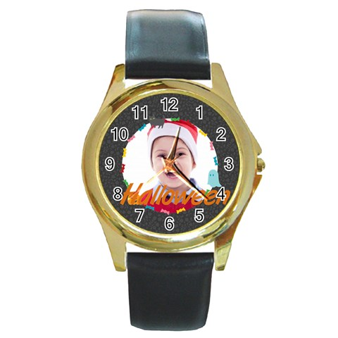 Halloween By May   Round Gold Metal Watch   Xwxy1cvcbs6o   Www Artscow Com Front