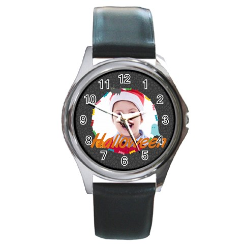 Halloween By May   Round Metal Watch   A71wigvwyv6z   Www Artscow Com Front
