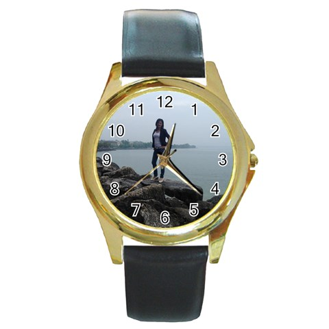 Tony5 By Pat   Round Gold Metal Watch   6c9nt7sxddl2   Www Artscow Com Front