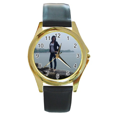 Tony55 By Pat   Round Gold Metal Watch   Jnp5dmbnwdes   Www Artscow Com Front