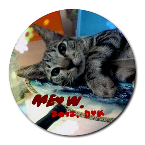 Meow By Dove   Collage Round Mousepad   Ekvrxhsr2wem   Www Artscow Com 8 x8 Round Mousepad - 1