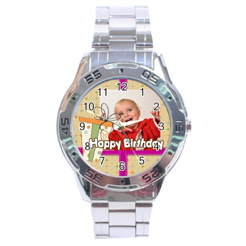 Happy Birthday By Man   Stainless Steel Analogue Watch   Yuweehph3jt4   Www Artscow Com Front