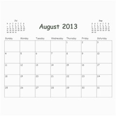 Calendar For Mom & Papa 2013 By Carrie Wardell   Wall Calendar 11  X 8 5  (12 Months)   92nk03zxm66z   Www Artscow Com Aug 2013