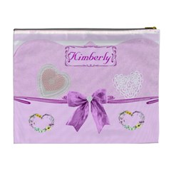 Pink Layered Cosmetic Bag  2 (xl) By Kim Blair   Cosmetic Bag (xl)   Df3erp4i1rm3   Www Artscow Com Back
