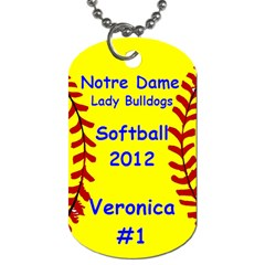 Nd Softball By Gina Elfrink   Dog Tag (two Sides)   25crqy6uhibl   Www Artscow Com Front