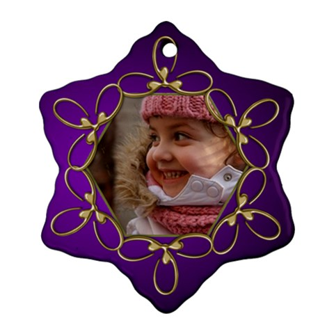Purple And Gold Snowflake Ornament By Deborah   Ornament (snowflake)   Saaepot03b3i   Www Artscow Com Front