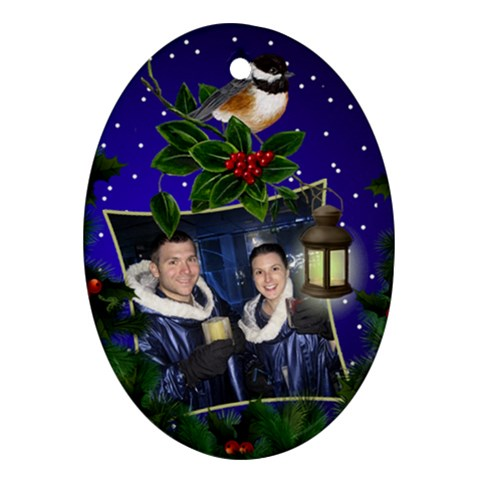 Christmas Cheer Oval Ornament By Deborah   Ornament (oval)   Cnrtt5zgzdmj   Www Artscow Com Front