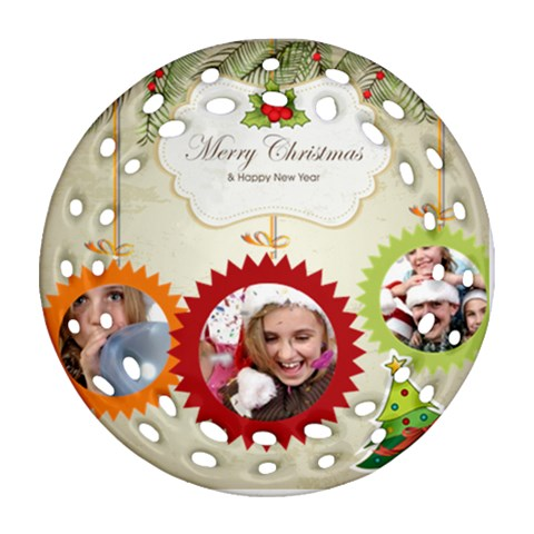 Christmas By Jo Jo   Ornament (round Filigree)   Oddpq7imh1lt   Www Artscow Com Front