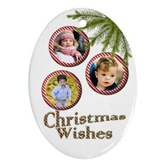 Christmas Wishes Oval Ornament (2 Sided) By Deborah   Oval Ornament (two Sides)   Fsf06azyrhic   Www Artscow Com Front