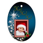 Ho Ho Ho Oval Christmas Ornament (2 sided) - Oval Ornament (Two Sides)