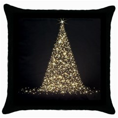 Christmas Tree Sparkle Jpg Black Throw Pillow Case by tammystotesandtreasures