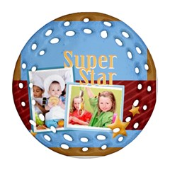 Super Star By Mac Book   Round Filigree Ornament (two Sides)   41zqzvg4xkfw   Www Artscow Com Front
