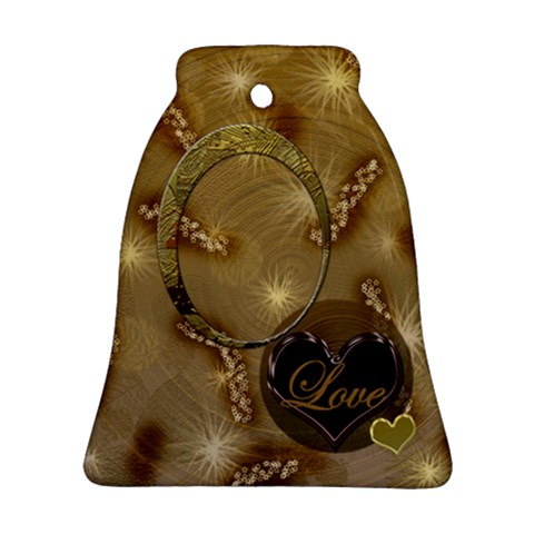 Love Gold Wedding Bell Ornament By Ellan   Ornament (bell)   Sfst08kxd6wz   Www Artscow Com Front