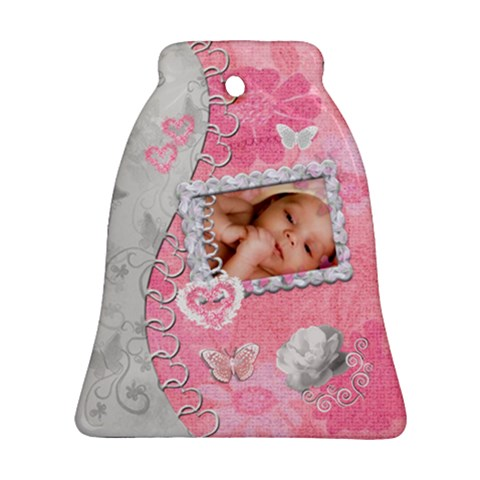 Spring Pink Baby Love Bell Ornament By Ellan   Ornament (bell)   86x0t3popi5b   Www Artscow Com Front